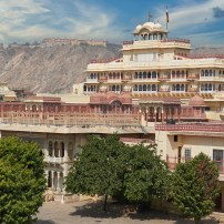 Mubarak Mahal in Jaipur City Palace Rajasthan India. Palace was the seat of the Maharaja of Jaipur the head of the Kachwaha Rajput clan India.