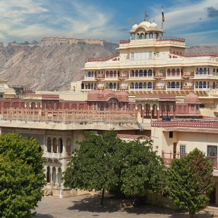 Mubarak Mahal in Jaipur City Palace Rajasthan India. Palace was the seat of the Maharaja of Jaipur the head of the Kachwaha Rajput clan India.