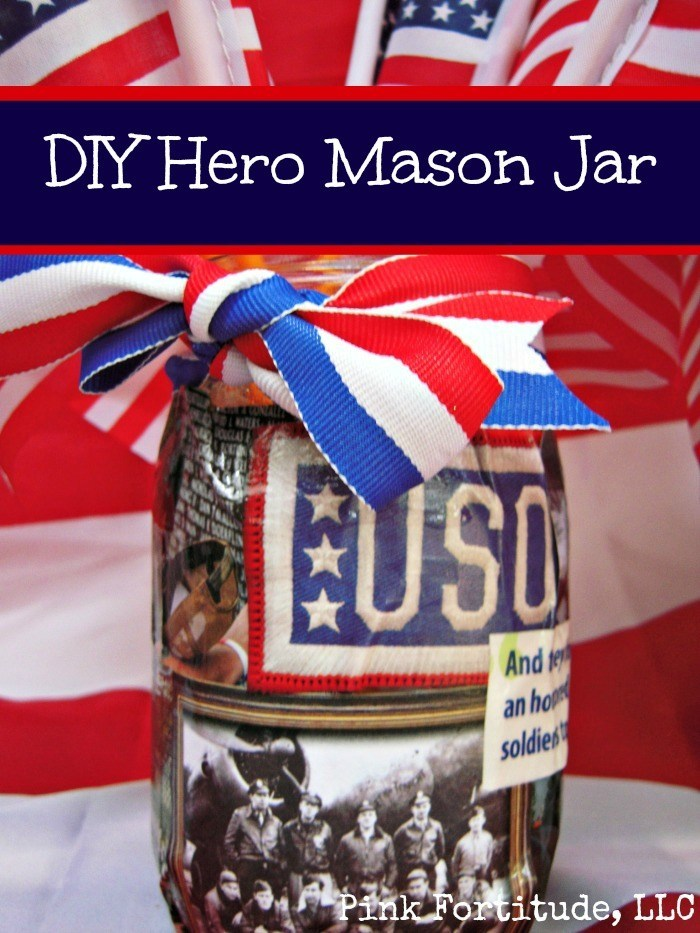 I love Mod Podge, Mason Jars, and all things patriotic, so one of my projects for the Patriot's Palooza party was to DIY this patriotic Hero Mason Jar. It can be used for Memorial Day, the 4th of July, a service member's return from deployment, military retirement party, or any other patriotic occasion.
