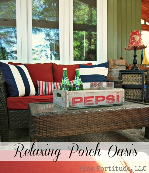 I know it seems like all we've been doing lately is working on updating the Homestead, and yes, here is another update to one of our transformations - our relaxing back porch oasis.