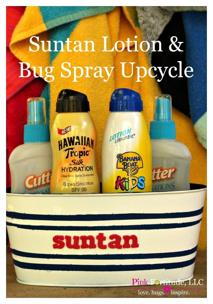 I don't know about you, but we have suntan lotion and bug spray all over the place. I took an ugly and sad container and upcycled it into this adorable bug spray and suntan lotion container. It's got a little nautical vibe to it, and is a fun way to keep all of your summer products in one place.