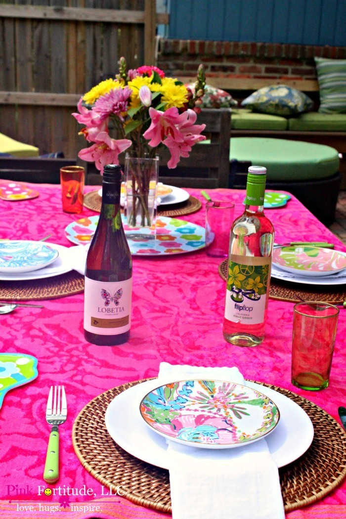 Flip Flops and Butterflies Tablescape with Lilly Pulitzer by coconutheadsurvivalguide.com