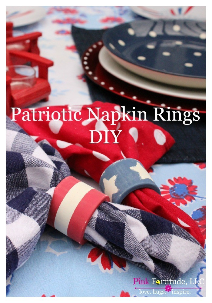 I found a set of boring red napkin rings at a yard sale, and knew right away I wanted to turn them into something special for the 4th of July.  Check out the trash to treasure DIY!