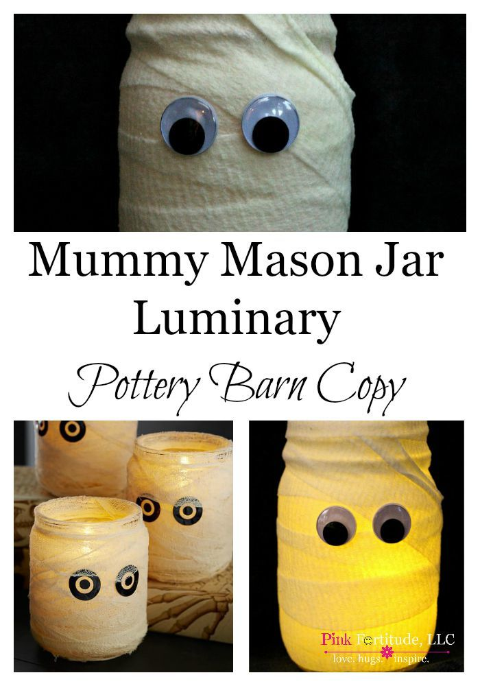 I love a Pottery Barn copy! I mean, who doesn't, right? It's not only fun to save some money and make something just as cute as you can find at the infamous PB – but to me, it's like a personal challenge. Today's DIY copy is the PB Mummy Mason Jar Luminary. If I can make something like this, so can you!