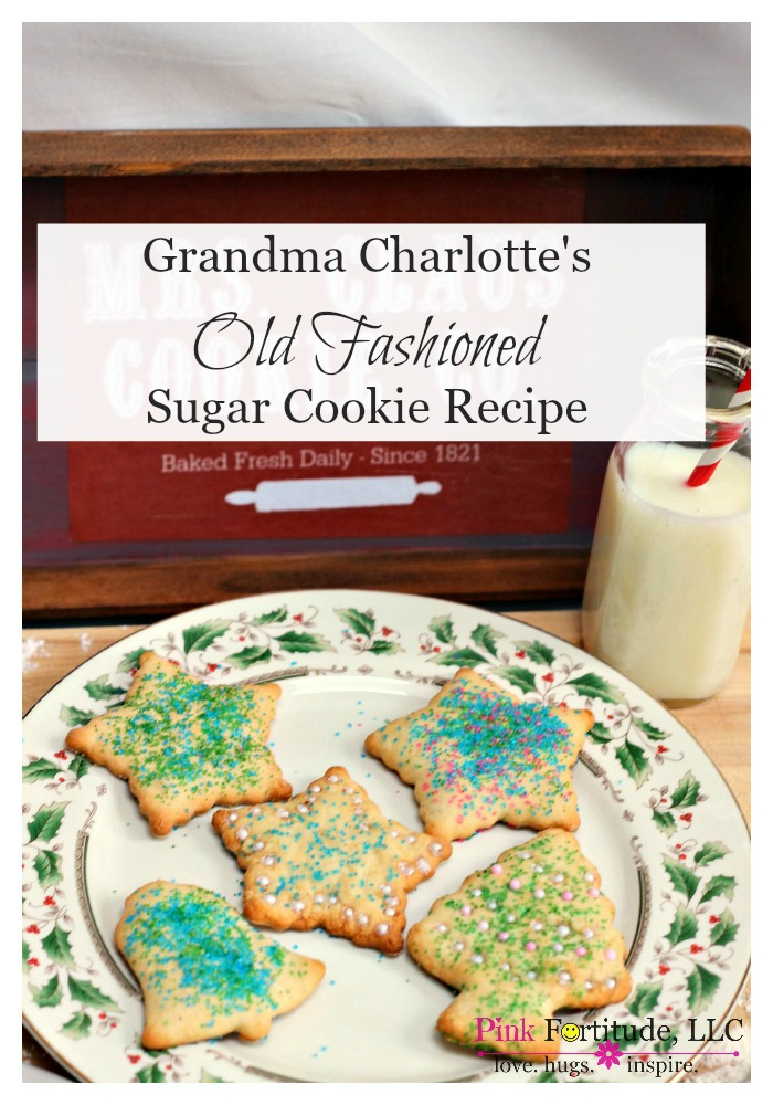 I've been told I have an old soul. I love all things vintage and old-fashioned, whether it's clothing, ideals, or recipes.My Grandma Charlotte passed at Christmas time when I was a baby. It was hard on my Mom, but we made her sugar cookies every year to honor her memory. This is the REAL DEAL. It's not some fancy schmancy dough in a bag that is artificially made to create the most perfect Martha-Stewart-Pin-Worthy cookies. It's old-timey dough and an old-timey recipe.