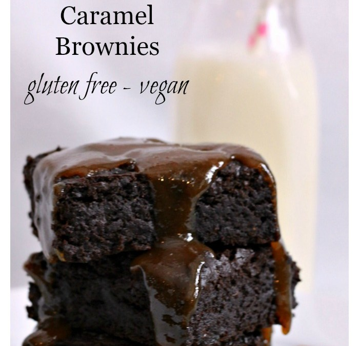 Chocolate Fudgey Caramel Brownies – Gluten Free & Vegan