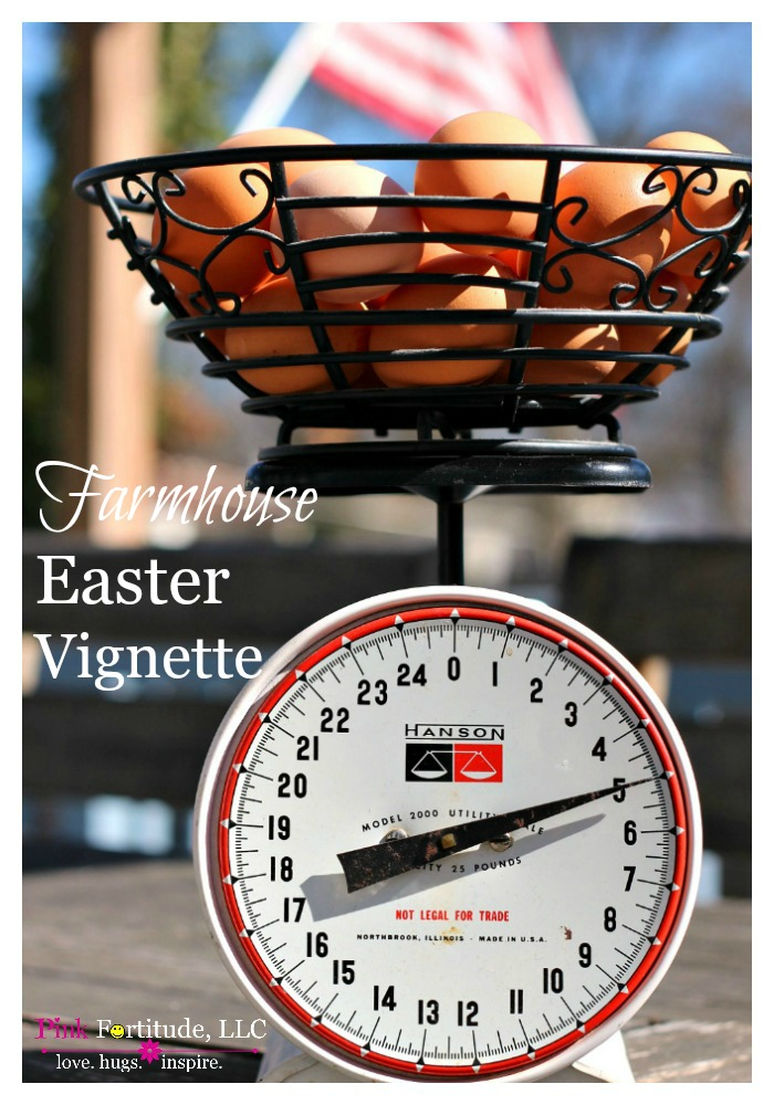 My favorite vintage scale plus some farm fresh brown eggs creates a fun and festive farmhouse Easter vignette. Try saying that three times real fast. Or keep drinking your coffee and check out the pictures of the day!