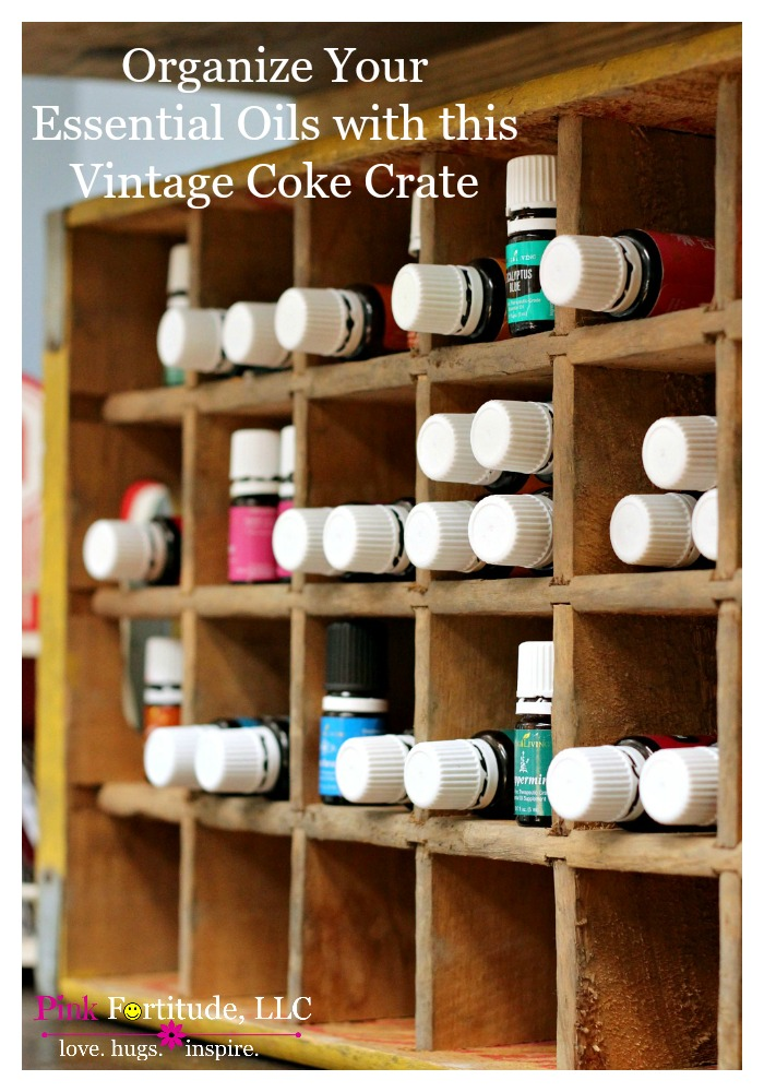 Are your essential oils all over the place? Are you looking for some clever organization ideas for them? This vintage Coca Cola crate is the perfect solution!