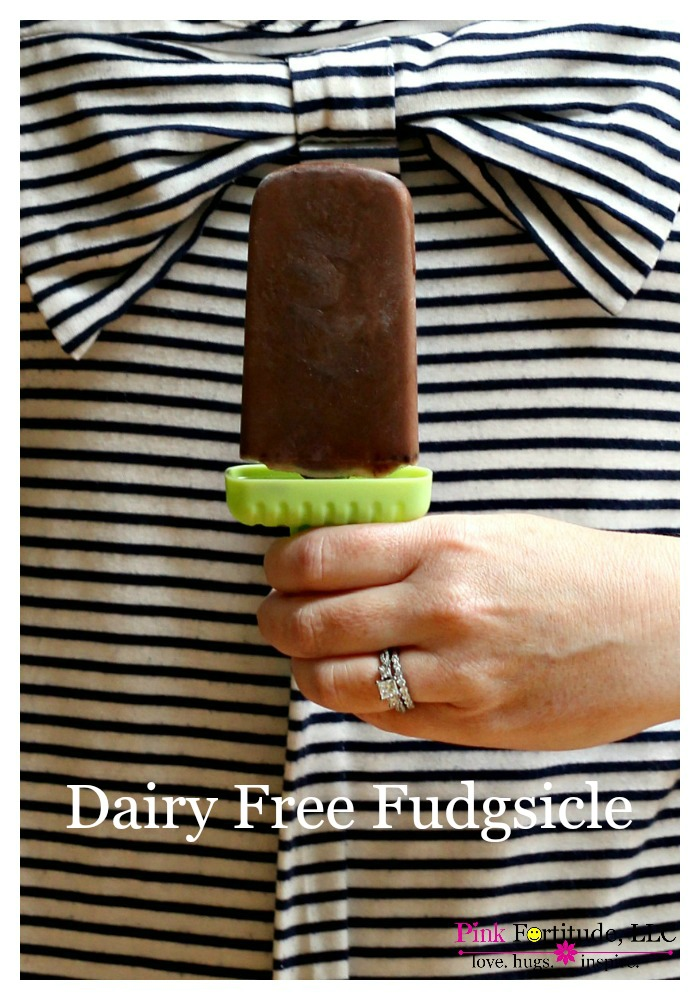 "If you can't handle the dairy in a ""real"" Fudgsicle or want a healthier option, this dairy free fudgsicle is made from Almond Milk and one extra ingredient. It's so easy to make and it tastes just like the old fashioned version! It's a summer must-have!"