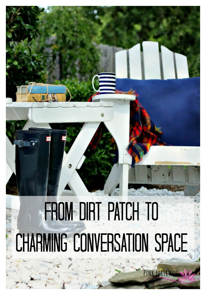 It's a charming conversation space now, but it started out as a sad dirt patch. It took a little work, but it's easy enough for you to replicate. The transformation is a must-see!