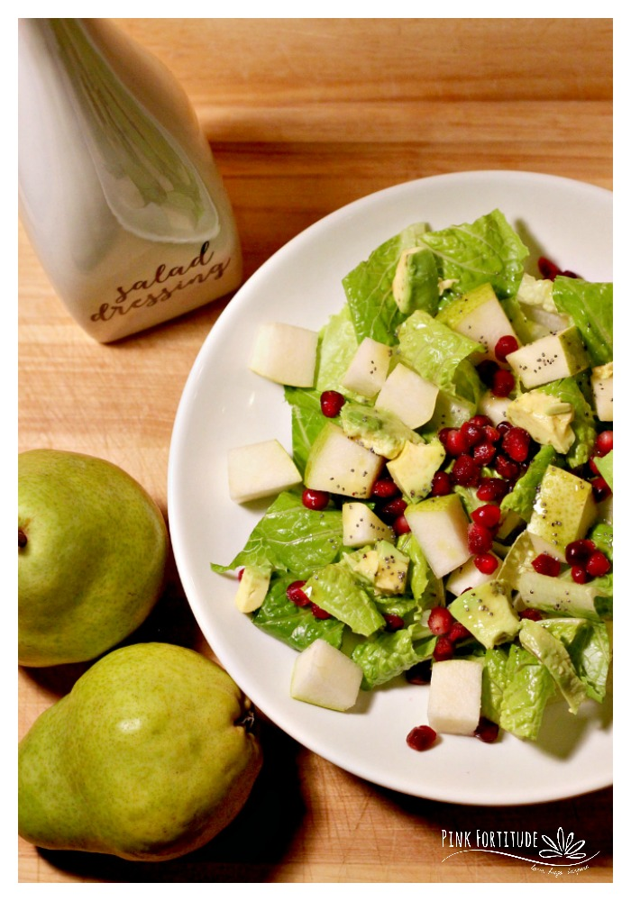 For those of you who co-op your produce or just enjoy adding seasonal fruit to your salad, this pear salad is sure to please. Pomegranates add a juicy sweetness, and the lemon poppy seed vinaigrette balances with a hint of tartness. Take your boring salad to a delicious treat with this healthy recipe.