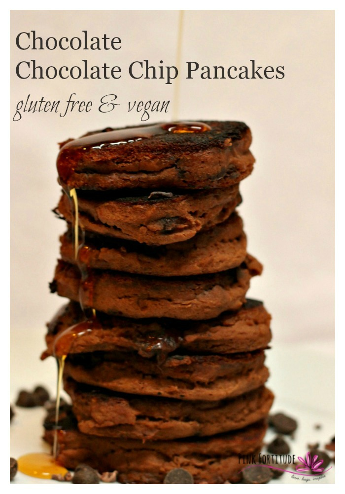 Nothing says Sunday morning like whipping up a batch of pancakes. Show your love to your spouse, your kids, and even yourself with these chocolate chocolate chip pancakes. Oh and PS - they are gluten free, vegan and super healthy!