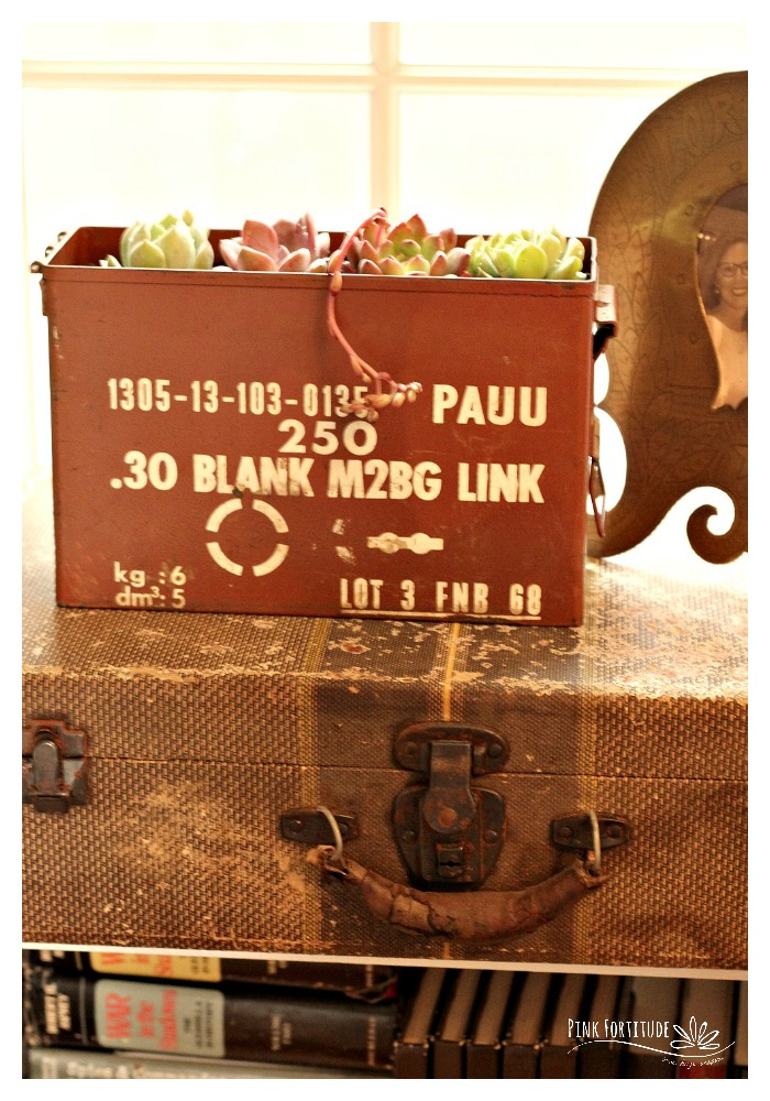 I've had this project in my head for awhile, but needed the perfect opportunity to execute. See how this vintage ammo can was upcycled into a succulent container.