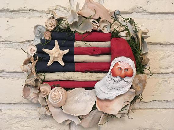 Driftwood and Seashell America Santa