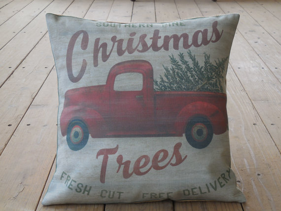 Truck with Christmas Tree Feed Sack Pillow