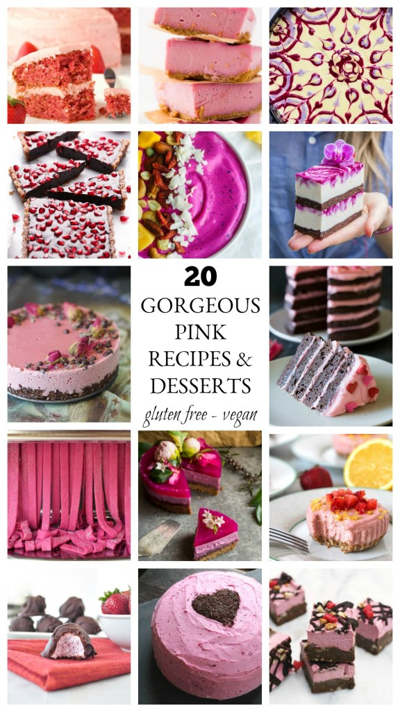If you are looking for gorgeous pink recipes for Valentine's Day, a baby or bridal shower, breast cancer event, or pretty much any festive occasion, these recipes are for you! They are healthy and/or gluten free and/or vegan and come with stunning food photography. There are no calories to look and pin!