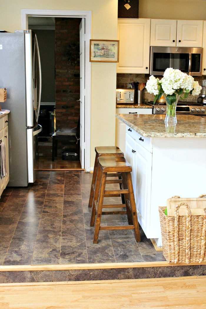 Our kitchen floor has been an eyesore since the day we moved in. But all & Eco-Friendly Kitchen Floor Before and After - Pink Fortitude LLC