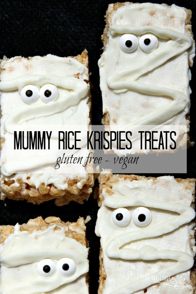 How stinkinadorable are these Mummy Rice Krispies Treats? Wait... they aregluten free and vegan? AND easy to make? Surely you jest! Yes, my friends, it IS possible! All you have to do is know how to substitute your old favorites with your new favorites. These treats are the perfect Halloween treat for kids of all ages. So whether you call them Rice Krispy Treats, Rice Krispies Treats, or Rice Crispy Treats, you will never know the difference with this gluten free and vegan version. And no worries about scaring anyone at Halloween with processed and scary ingredients! Get the recipe... #glutenfree #vegan #recipe #halloween #pinkfortitude
