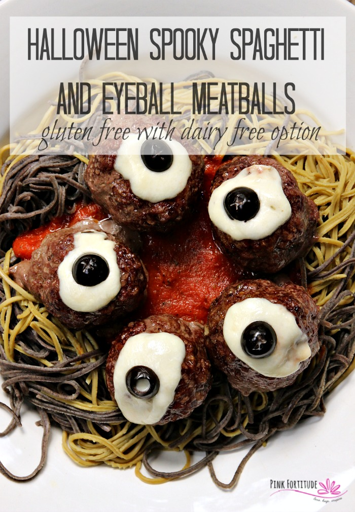 Who says Halloween dinner can't be spooky, festive, AND healthy? Serve this Halloween Spooky Spaghetti and Eyeball Meatball recipe to your family and friends. You can even call it brains and eyeballs if you wish. This Spookghetti is made with gluten free pasta and meatballs, and even has a dairy free option. Kids of all ages will love it! Get the recipe if you dare... #halloween #spaghetti #pasta #recipe #glutenfree #pinkfortitude