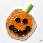 Super cute and healthy Halloween food doesn't have to be difficult to make. This Halloween tortilla appetizer looks like a pumpkin or Jack O' Lantern. It's gluten free, grain free, and you can have either a regular dairy or dairy free option. Make it for Halloween dinner or for your Halloween party. It's fun food!