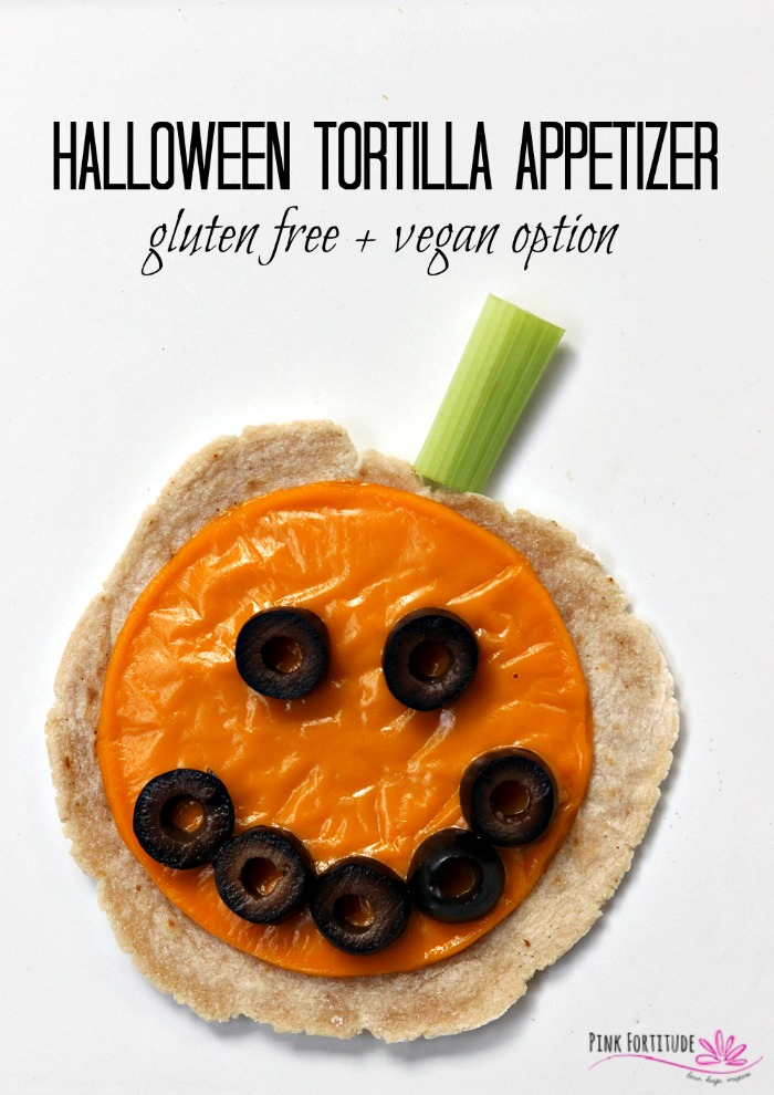 Super cute and healthy Halloween food doesn't have to be difficult to make. This Halloween tortilla appetizer looks like a pumpkin or Jack O' Lantern. It's gluten free, grain free, and you can have either a regular dairy or dairy free or vegan option. Make it for Halloween dinner or for your Halloween party. It's fun food! #halloween #glutenfree #vegan #appetizer #recipe #pinkfortitude