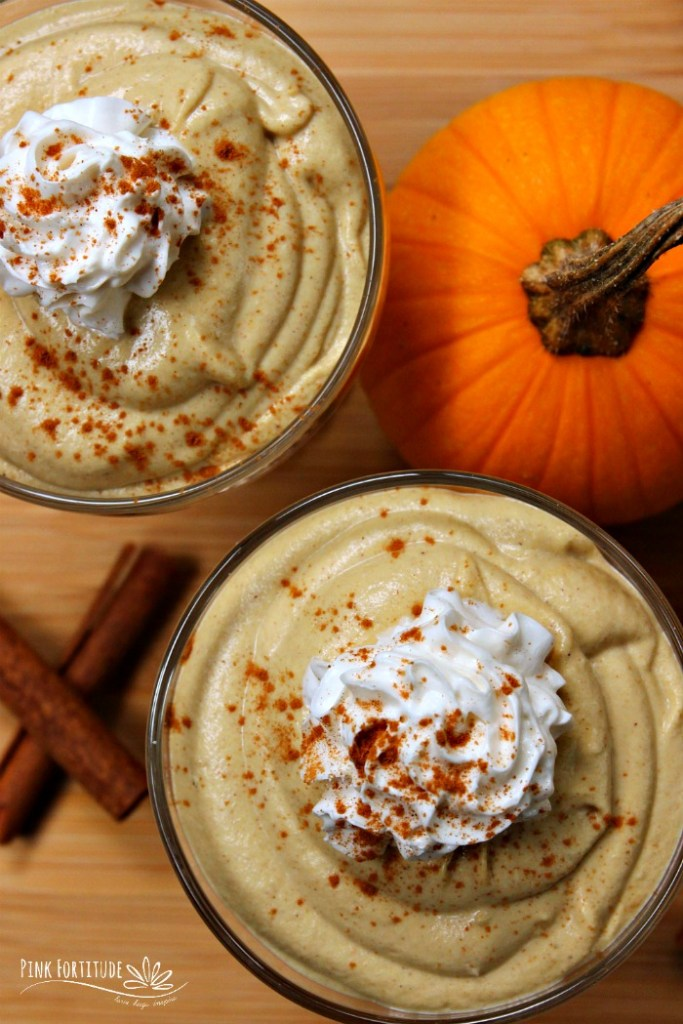 Pumpkin Spice Mousse. It's vegan, dairy free, and keto friendly. It's smooth and creamy, and you can even add a little butterscotch flavor if you like. Enjoy it solo, or pair it with your favorite pumpkin spice granola. It's going to be a fall family favorite. Get the recipe... #pumpkin #pumpkinspice #vegan #recipe #keto #pinkfortitude