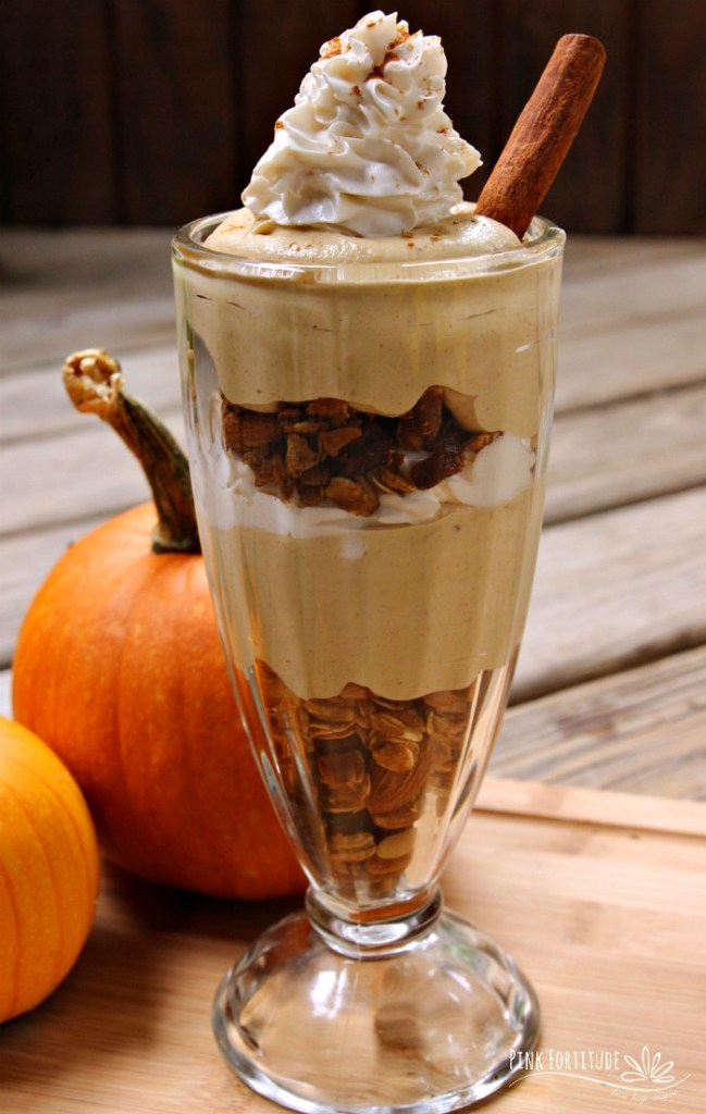 Want to fancy up your pumpkin spice mousse? Serve a dessert treat for guests? Or have a B&B worthy breakfast? This pumpkin spice parfait is gluten free and vegan. And delicious. And fancy. Get the recipe... #pumpkin #pumpkinspice #recipe #glutenfree #vegan #pinkfortitude