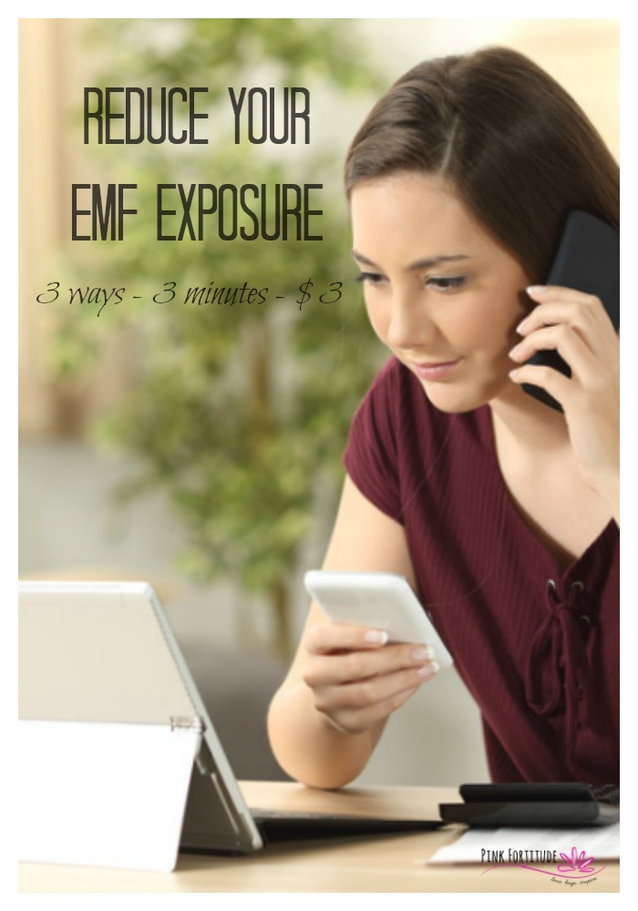 Does electromagnetic radiation or electrosmog (EMF) exposure scare you? It should. It's all around us. It's virtually impossible to work and live without having wifi and all of the corresponding devices such as smartphones, tablets, and laptops. Science is just beginning to uncover the dangers of EMF exposure, especially when it comes to autoimmune disease. It's simpler than you think to reduce your EMF risk. Here are 3 ways to reduce your risk in 3 minutes and it only costs 3 dollars! #emf #healthhack #pinkfortitude