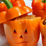 Orange peppers are screaming for Halloween. Why not try this Halloween Taco Stuffed Peppers recipe? They are just as easy to make as tacos, taste just as good (if not better) and are super cute for your Halloween dinner or Halloween party. They are gluten free and you can even make them dairy free too. Get the recipe...