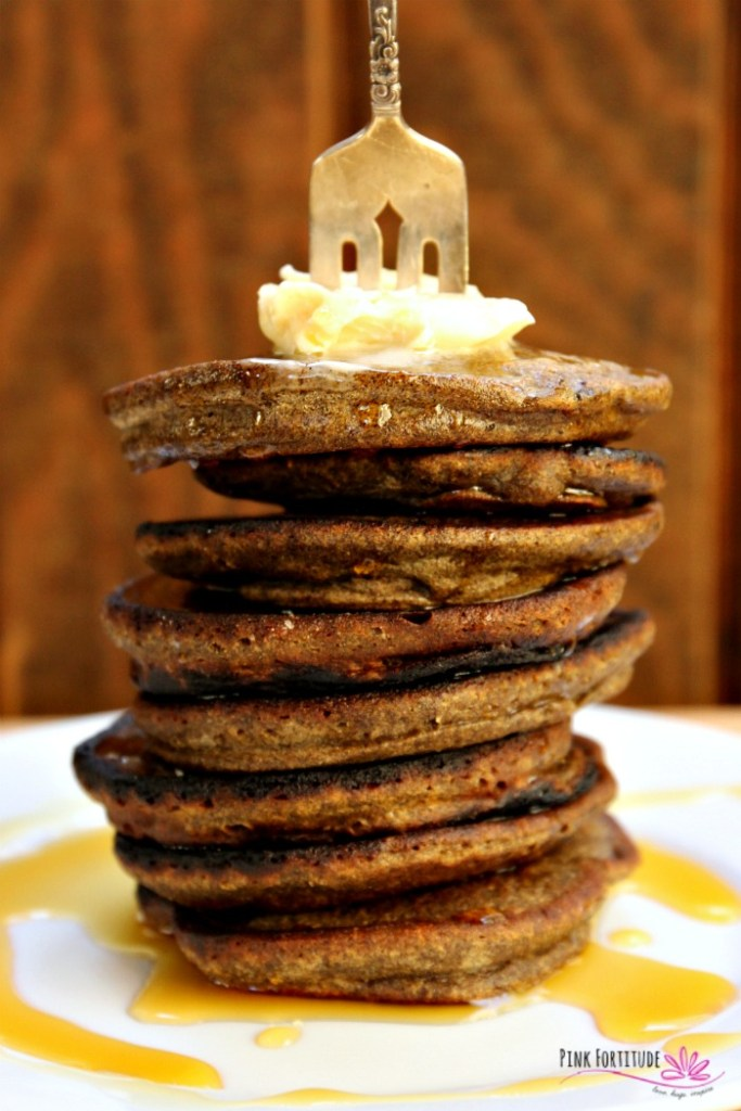 Pancakes are the ultimate comfort food. They are also a lot of fun to eat. I have no idea why, but you can't argue with the facts. I can seriously eat an entire stack. I have no shame. Pumpkin pancakes - do they get any better? How about these Buckwheat Pumpkin Pancakes which are both gluten-free and vegan. It's breakfast perfection. #pumpkin #pinkfortitude