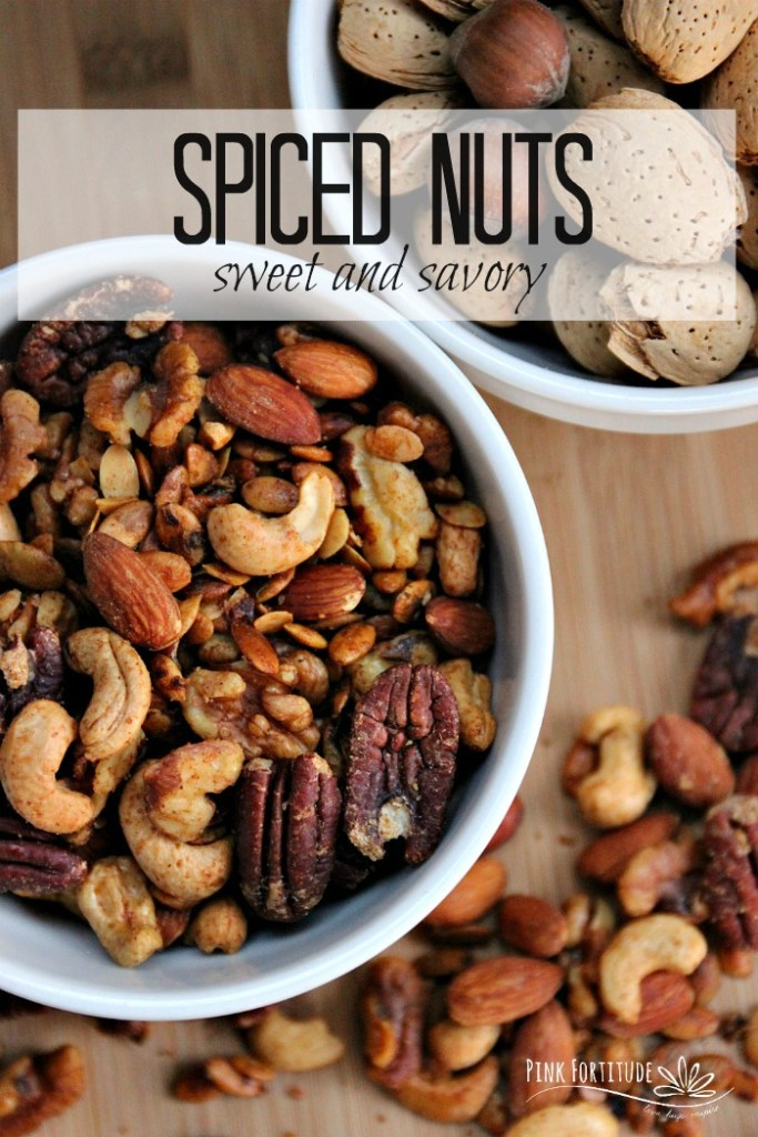 "You're hosting a party and want a quick and easy ""wow"" appetizer. It's game day or movie night and you're looking for something to nosh. You're going to a party and need a hostess present to bring. Rather than dumping a can of store-bought nuts in a bowl, why not take a few extra minutes and whip up these delicious spiced nuts? These sweet and savory spiced nuts are going to take that bowl from boring to brilliant and no one needs to know how easy they are to make. Get the recipe... #pinkfortitude"