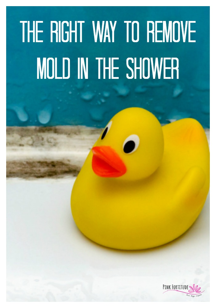 One thing I get asked about a lot is how to get rid of mold in the shower. Should I use bleach to remove the mold? What is safe to use? Is there an all-natural method to remove mold? How do I keep the mold from coming back? All of the answers are right here. #shower #mold #pinkfortitude