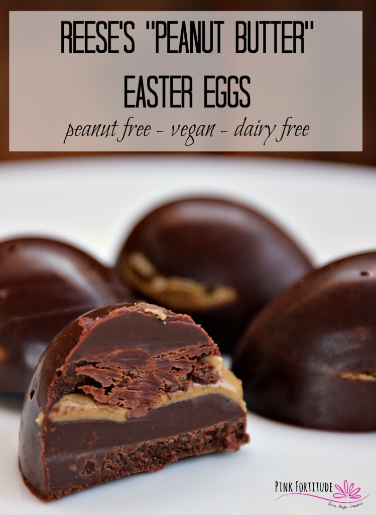 Peanut butter and chocolate together is like taste perfection. When put in a Reese's Peanut Butter Easter Egg - it's a special treat. This recipe copies the style of a traditional Reese's Peanut Butter Easter Egg, but it's peanut free, dairy free, vegan, gluten-free, and made with minimal sugar. It won't disappoint. I promise!