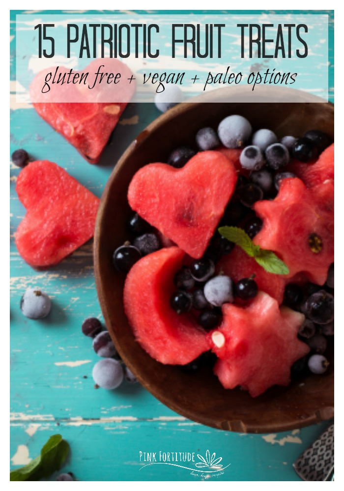 Berries and fruit just beg to be made into a sweet and treat for your 4th of July, Memorial Day or patriotic themed party. These are 15 of your new favorite fruit salads, fruit parfaits and smoothie bowls, and fruit popsicles and ice cream recipes. They are the perfect desserts in keeping with your gluten-free, vegan, and paleo protocols. Which one is your favorite?