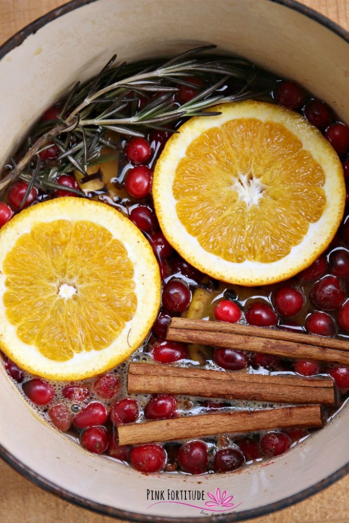 One of my favorite things about the holidays is the scents of the season. I remember my parent's home always smelled like Christmas. You can have those same aromatic scents in your home with this Christmas Simmer Potpourri. It simmers on the stove or in a Crock-Pot and savors the scents of the holidays like cranberries, cinnamon, cloves, and oranges. The DIY is super easy to make and fill your kitchen with the warmth of the season.