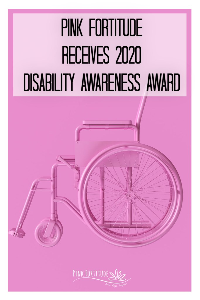 Pink Fortitude received the 2020 Disability Awareness Award from the City of Alexandria and the Alexandria Chamber of Commerce.