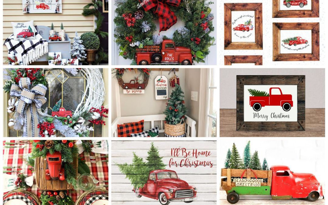 25 Red Truck Christmas Decor and DIY Ideas