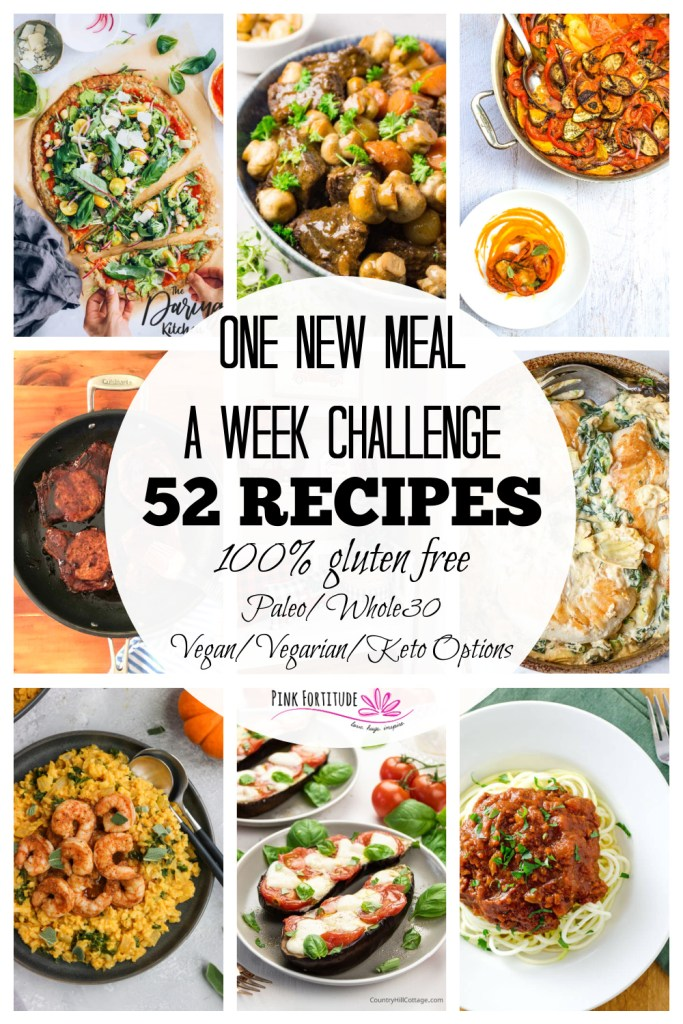 Tired of the same thing for dinner? Join the One New Meal a Week Challenge with all gluten free dinner recipes, along with healthy recipes that are Paleo, Whole30, Vegan/Vegetarian, and Keto. We have 52 new recipes for you to try that are organized by season and month. It's easy to follow along! Let's get cooking!