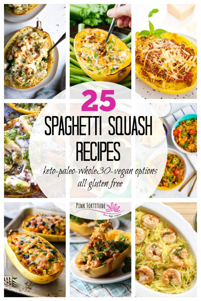 We've got 25 of the best gluten free spaghetti squash dinner recipes here for you today. They are organized into categories including Keto and Low Carb, Paleo and/or Whole30, Vegan and Vegetarian, plus a few that are a little more indulgent. Plus, I'll share four ways to make spaghetti squash. Let the cooking begin!