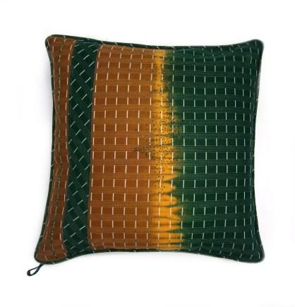 Yoruba collection. green and gold hand beaded cushion. 45x45cm