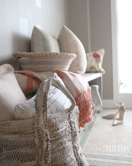 Apartment Home Decor Pink and Gray Pillows Throws & Baskets Area Rug Strappy Heels