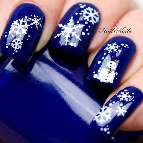 Snowflakes Blue Christmas Nail Art Image Source