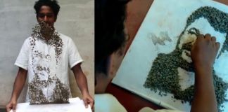Kannur artist creates air art using stones