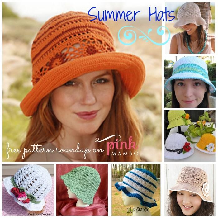 Crochet Summer Hats 8 Free Patterns Pink Mambo