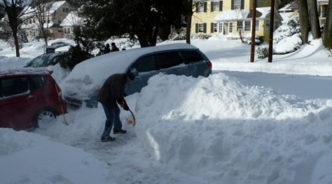 Digging out creates a pile about five feet high