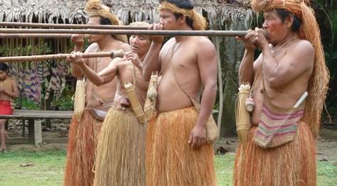 Yagua Tribesmen Shooting Blow Guns