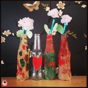 hearts and flowers sand vase