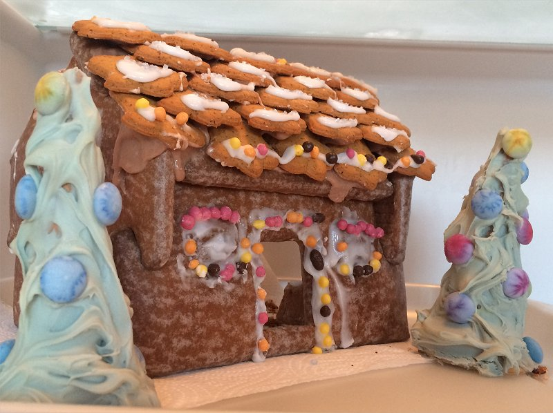 gingerbread house and trees