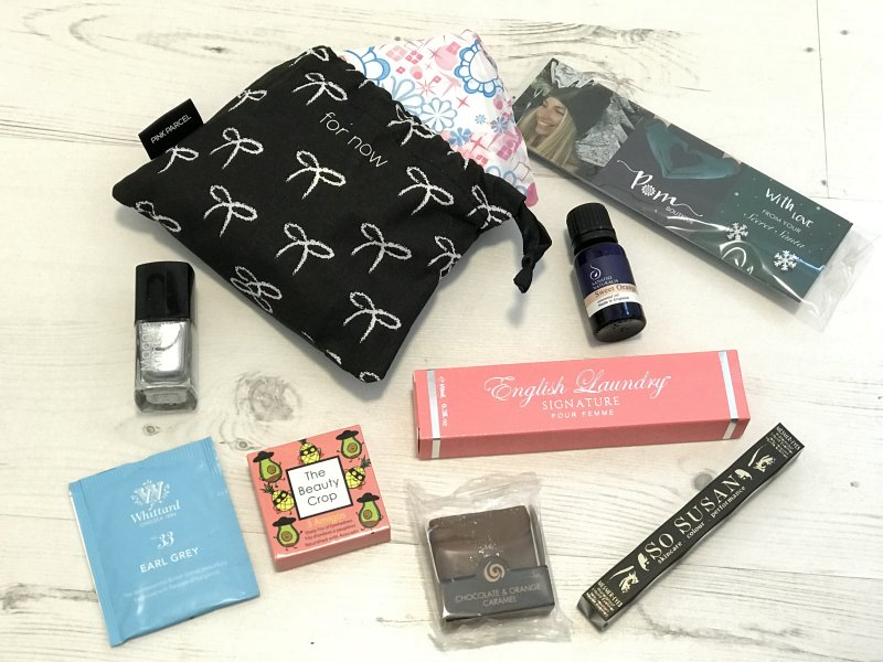 Pink Parcel December Subscription Box Contents