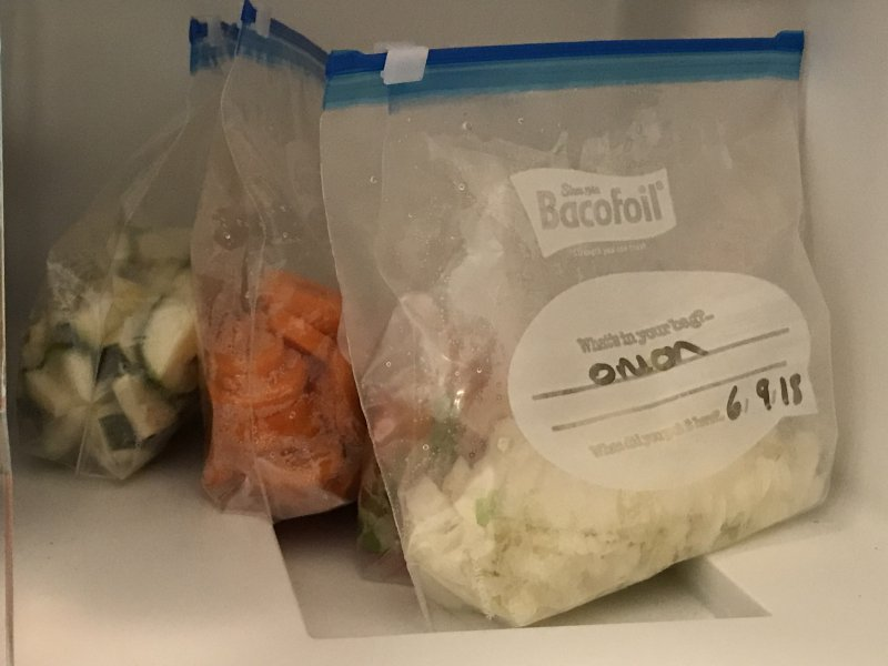 Preparing the Vegetables with Bacofoil® All Purpose Zipper® Bags
